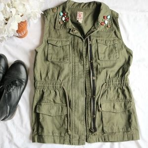 Army Green Military Anorak Jacket Vest